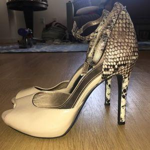BCBGeneration Cream & Black Snake Print Heels 6.5